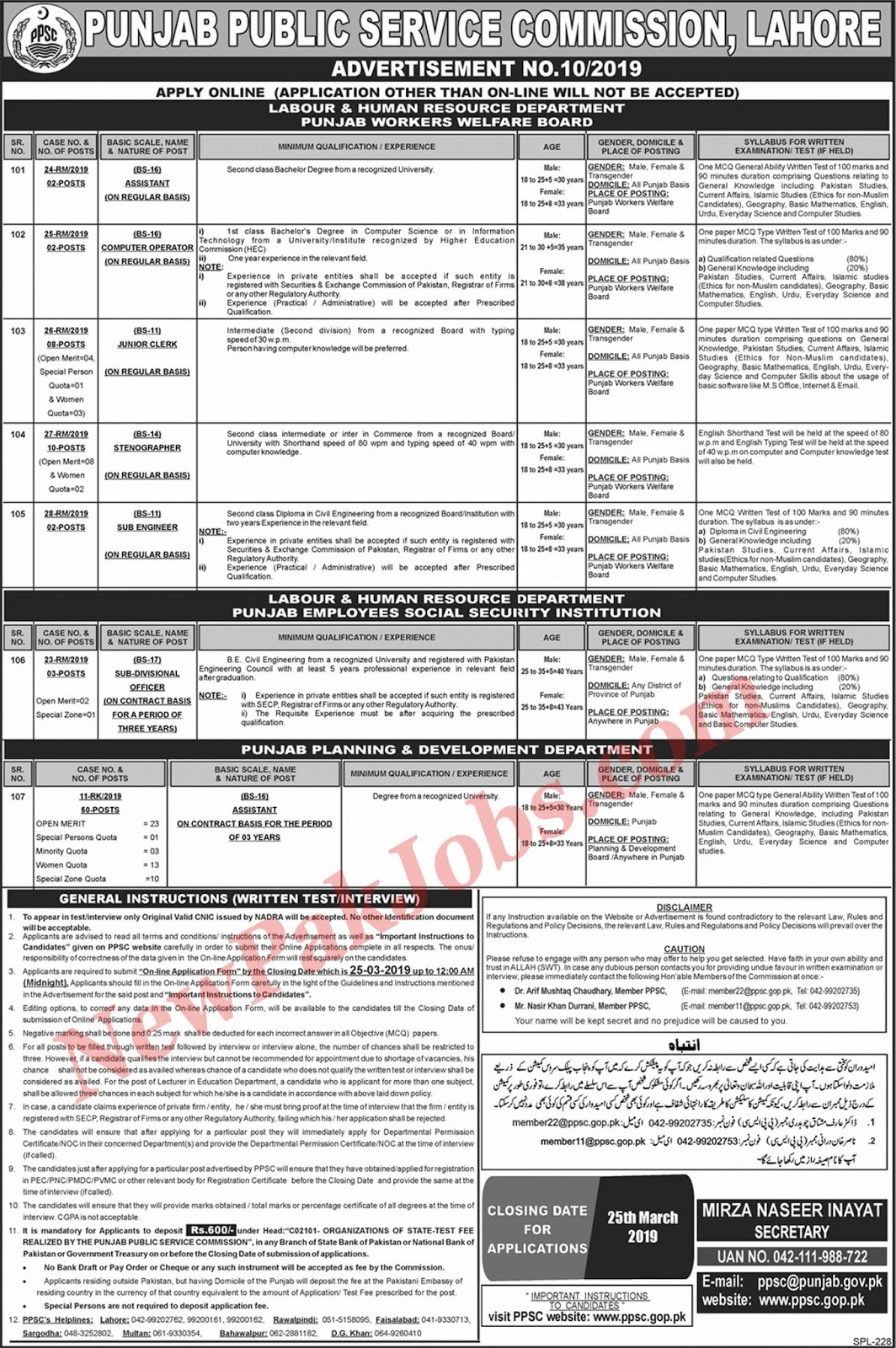 PPSC Jobs March 2019