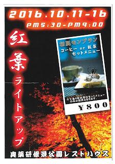 """Yagen Fall Foliage """"Light Up"""" poster 平成28年紅葉ライトアップ ポスター むつ市大畑町奥薬研修景公園レストハウス Okuyagen Shuukei Kouen Rest House Kouyou Light Up Mutsu City Ohata"""