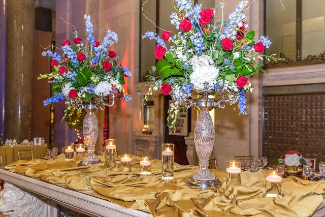 The centerpieces for the 2015 Keeper of the Flame Awards put on by The Center for Security Policy at the National Postal Museum in Washington, DC