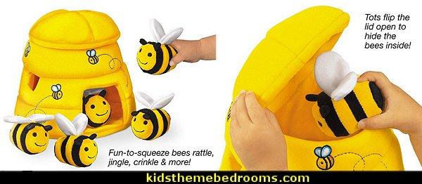 Hide & Seek Beehive   bumble bee bedrooms - Bumble bee decor - Honey bee decor - decorating bumble bee home decor - Bumble Bee themed nursery - bee wallpaper mural decals - Honeycomb Stencil - hexagonal stencils - bees in springtime garden bedroom -  bee themed nursery - black yellow bedroom ideas - Hexagon pattern -