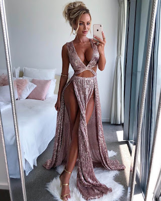 dress sequins elegant trendy