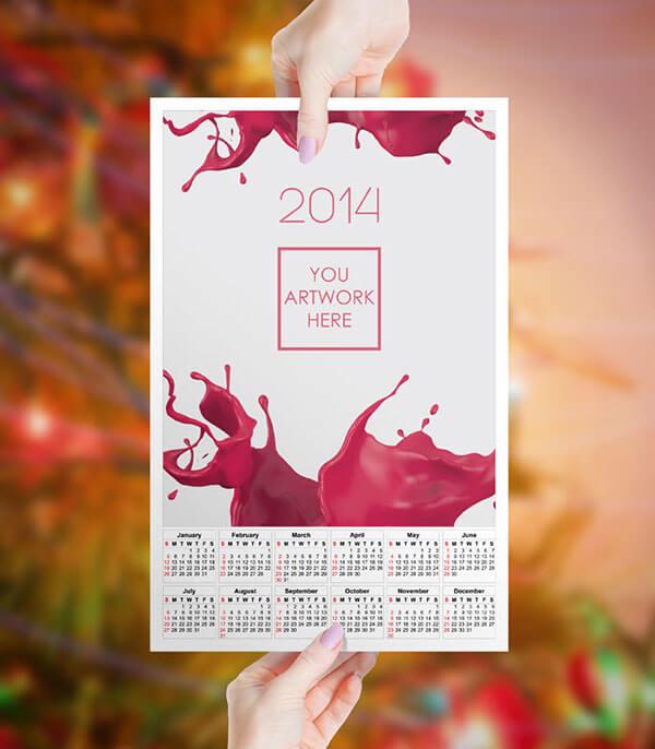 Mockup PSD Kalender 2019 Terbaru - Female Hand Calendar Mockup