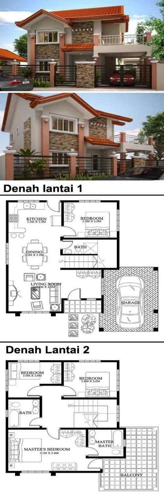 Rancangan Denah Rumah 2 Tingkat Type 45 Idaman