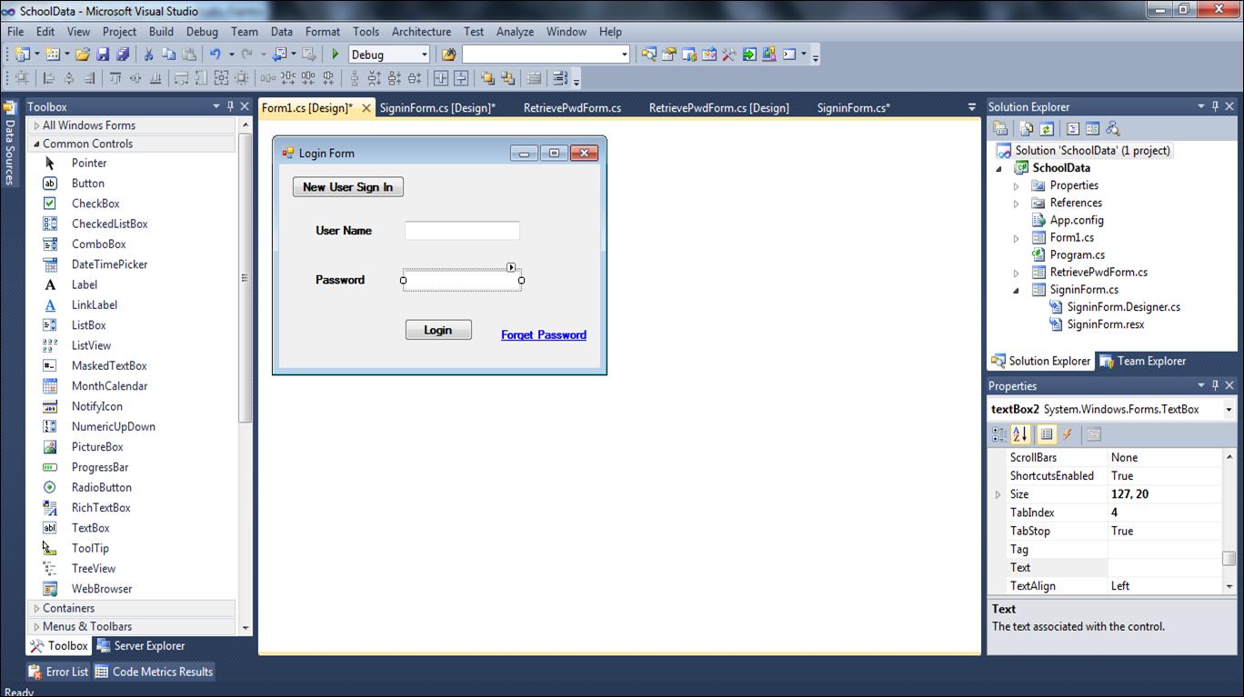 kumaran login and registration forms in c windows form designs