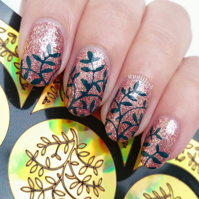 Leaf nail art with Born Pretty Store nail vinyls | polilish