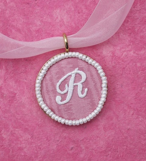 fabric monogram pendant