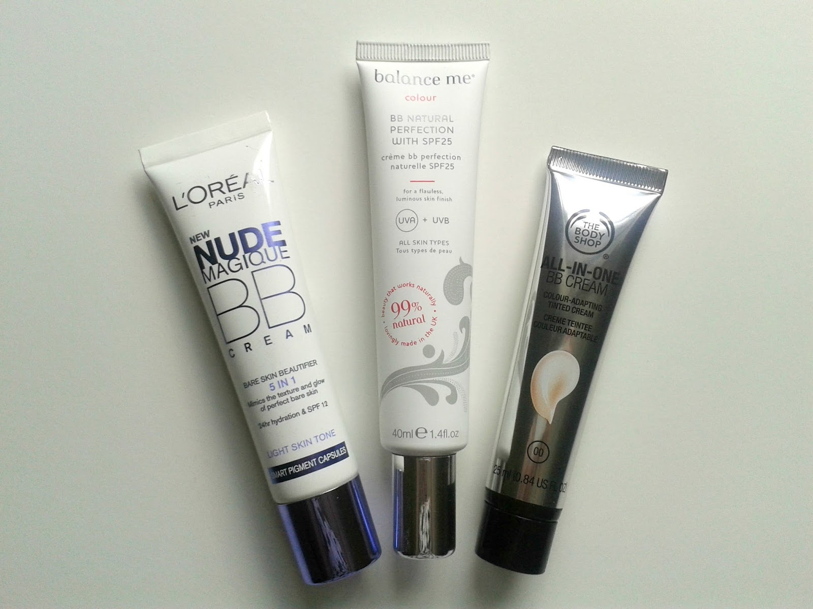 BB Cream Beauty Review L'Oreal Nude Magique BB Cream Balance Me BB Natural Perfection SPF 25 The Body Shop All In One BB Cream