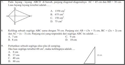 Soal Latihan Ujian Kenaikan Kelas Matematika Kelas VII dan Kunci Jawaban sesuai dengan ku Soal UKK MTK Kelas 7 + Jawaban K 13 Th. 2018