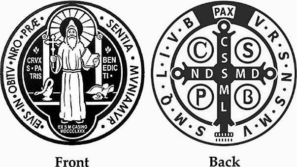 An image showing the front and back of the Saint Benedict Medal.