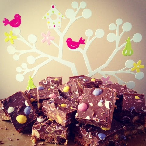 Ideas to use up left over chocolate, Easter Fridge Cake - White Chocolate Bark & Malt Easter Tray Bake