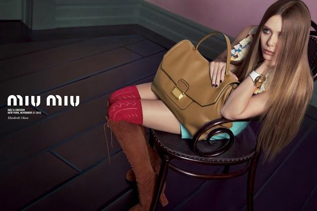 Spring Summer 2014 ads, Miu Miu, Elizabeth Olsen, Bella Heathcote, Lupita Nyong'o, Elle Fanning
