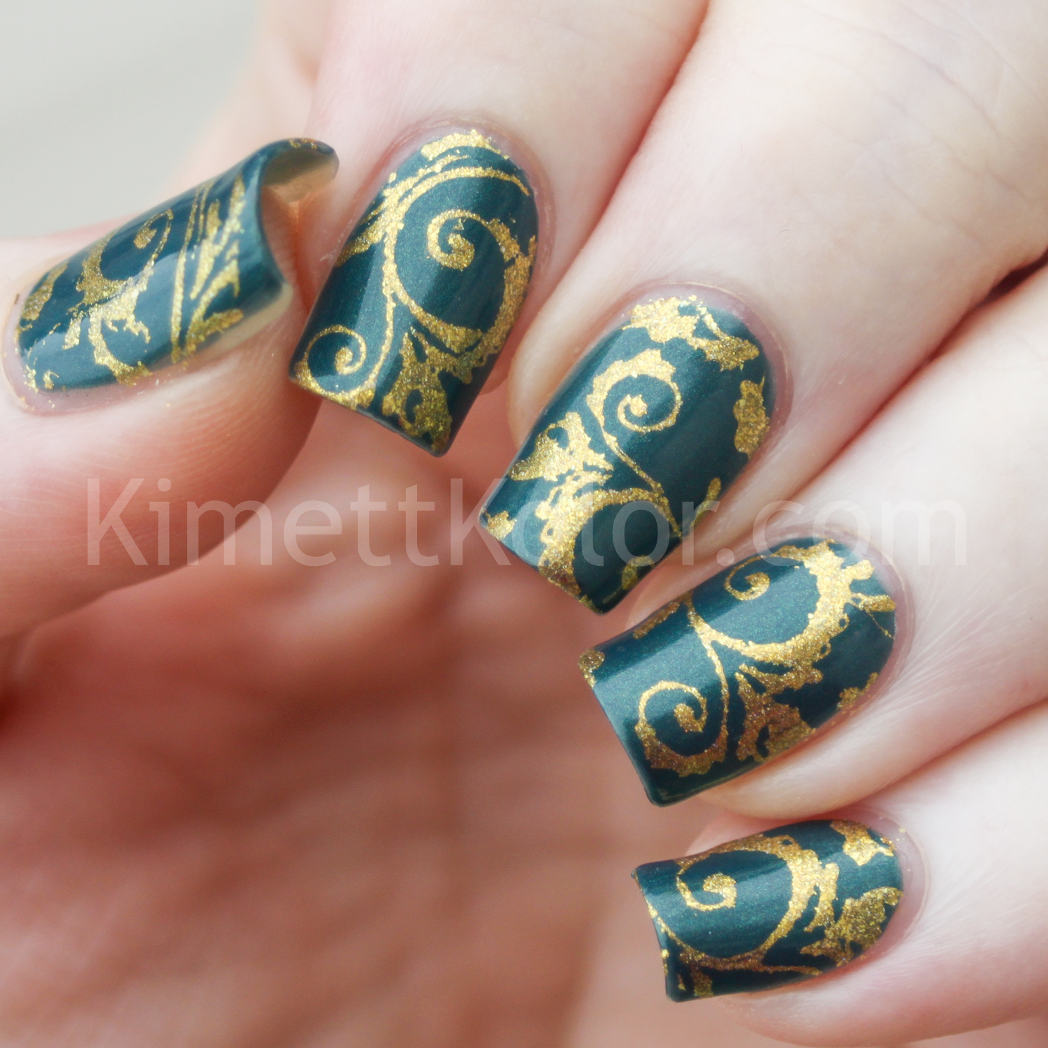 KimettKolor When Colours Collide Teal and Gold Nail Art