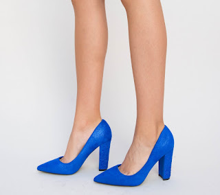 Pantofi Robico Albastri cu toc gros din piele intoarsa