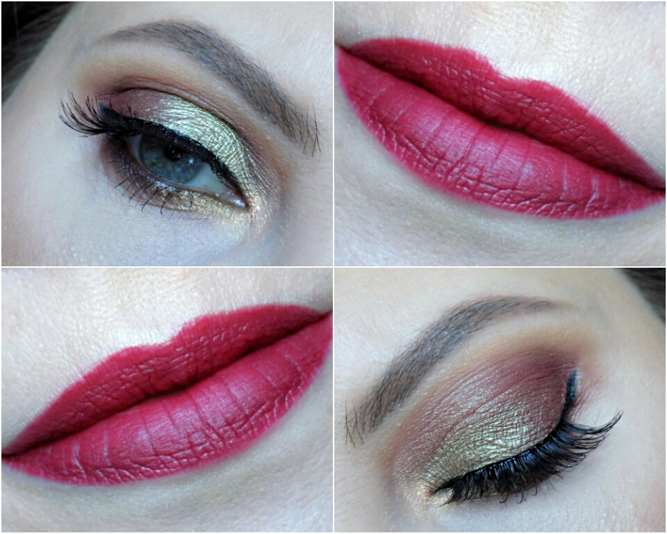 green & burgundy eye look and burgundy lips