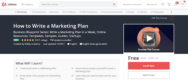 How to Write a Marketing Plan-Udemy Free (100%)