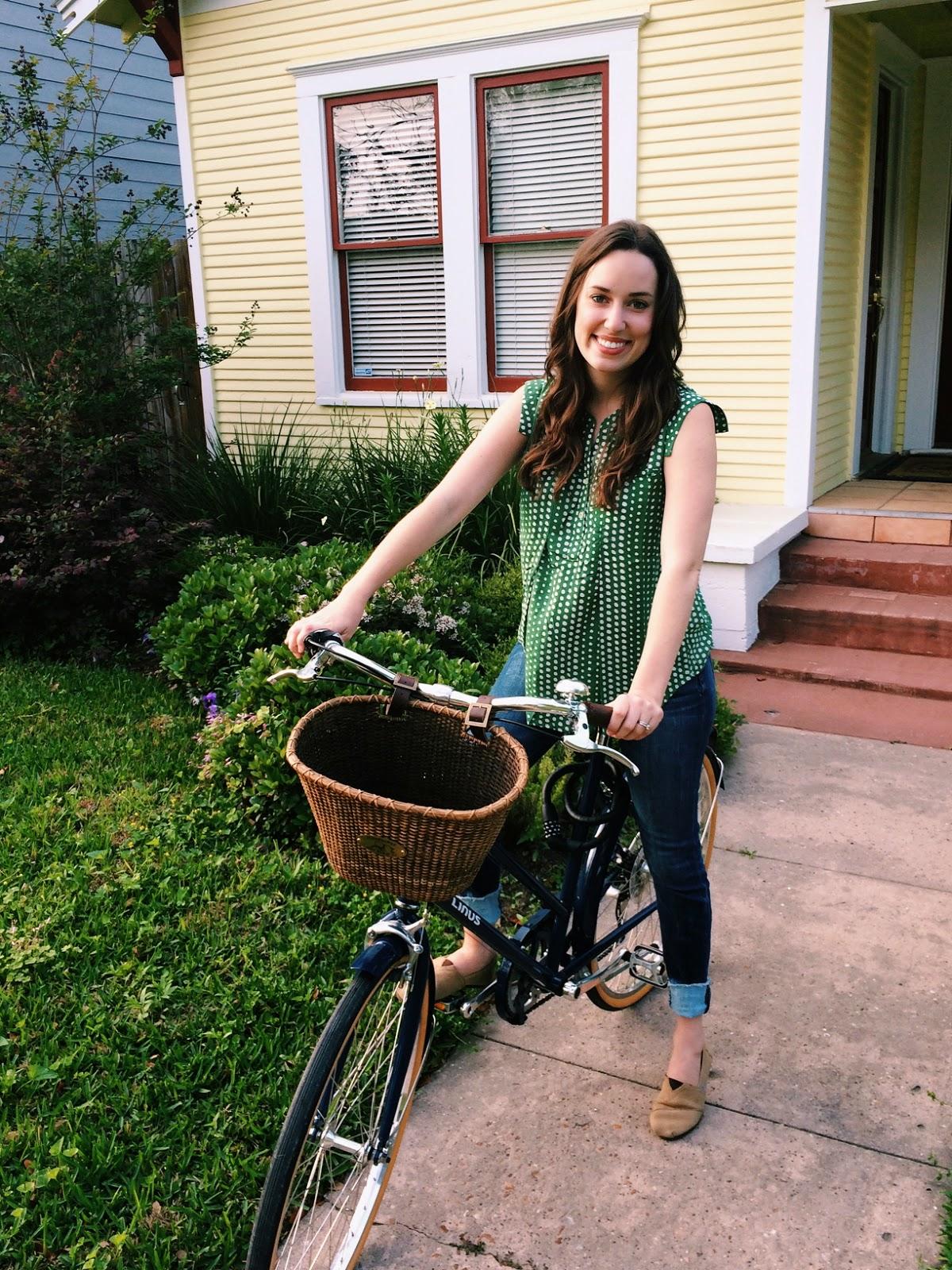 Linus Scout Bike, Nantucket Bike Basket, Anthropologie, Ruffled Swing Henley, Trendy in Texas