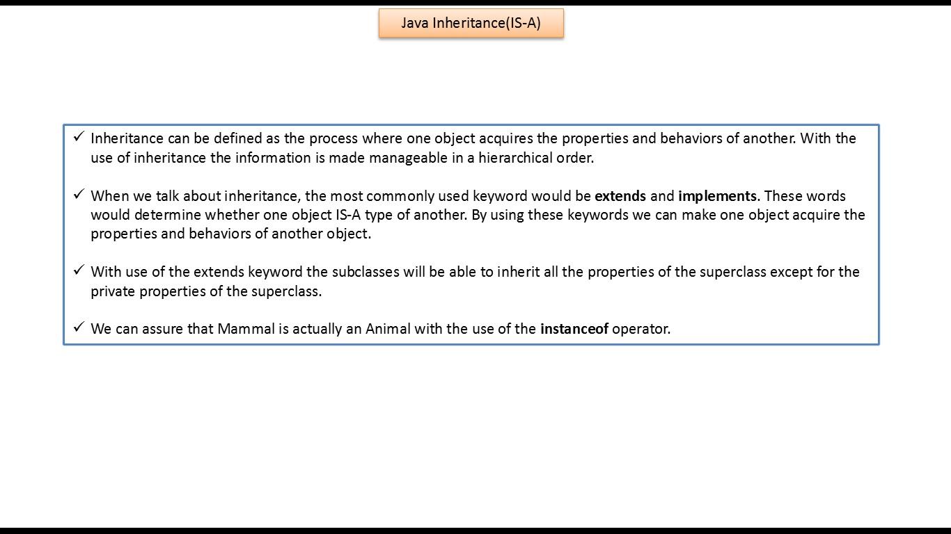 Java ee java tutorial inheritance is a relationship animal animaldemojava baditri Gallery
