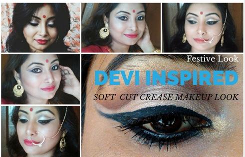 Soft Cut Crease Devi Inspired look 3| Festive Look | Durgapuja Collab