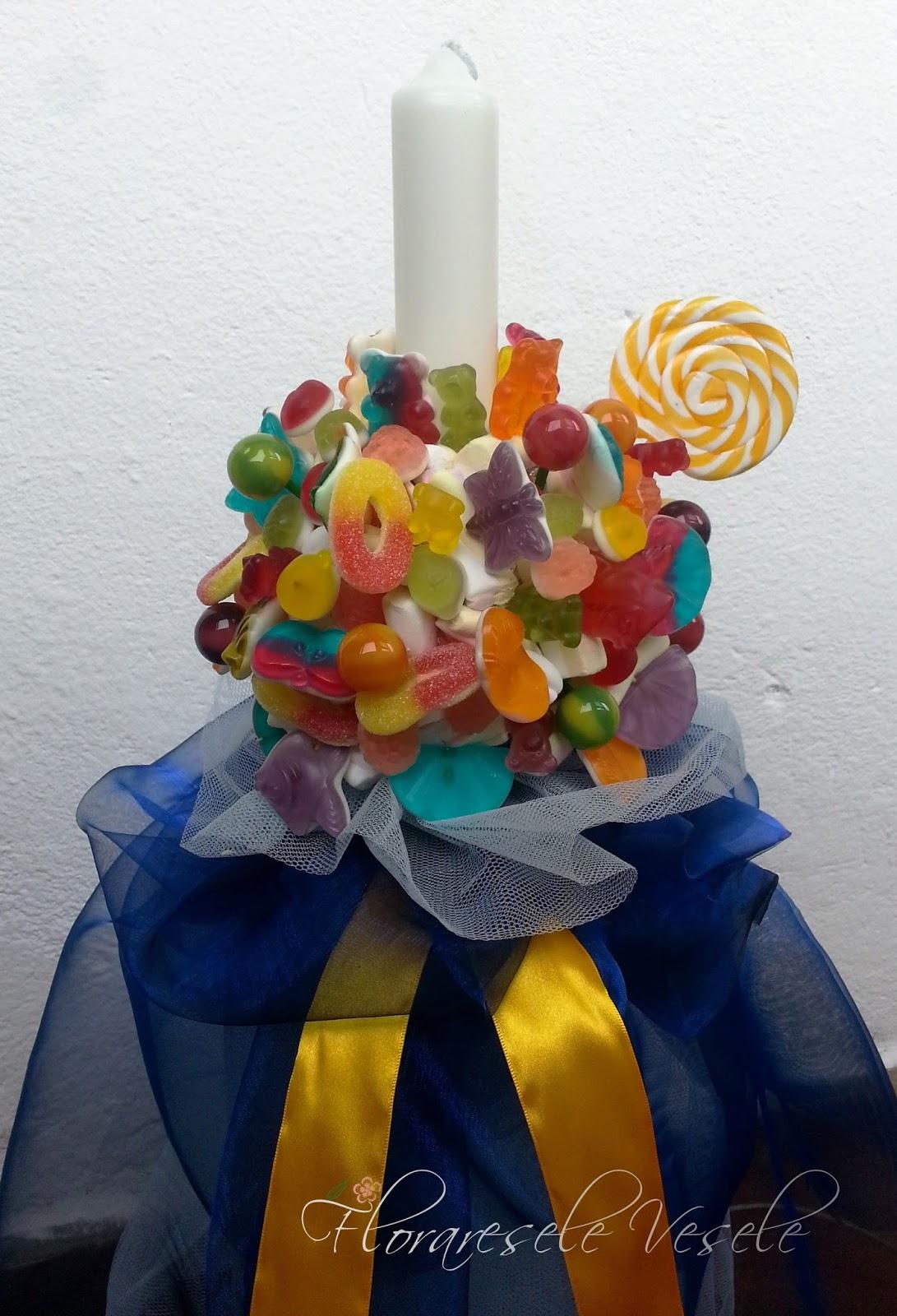 Floraresele Vesele Lumanare De Botez Lollipop Cu Jeleuri Si Acadele