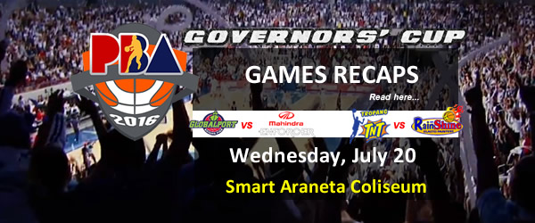 List of PBA Games Wednesday July 20, 2016 @ Smart Araneta Coliseum
