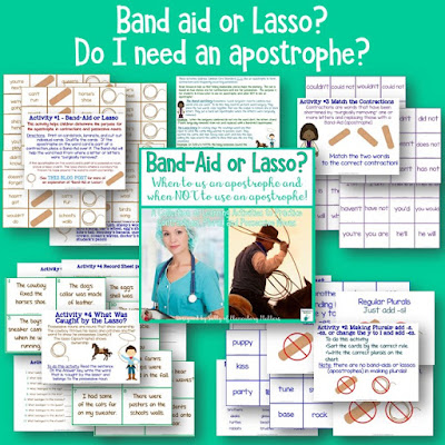 Band aid or Lasso? Do your students put an apostrophe in every word that ends in s? Here are a couple of cute tricks to help the kiddos remember when to use apostrophes and when NOT to!