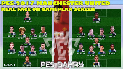 PES 2017 Real Face for Manchester United Players on Gameplan Screen by PES DAHRY