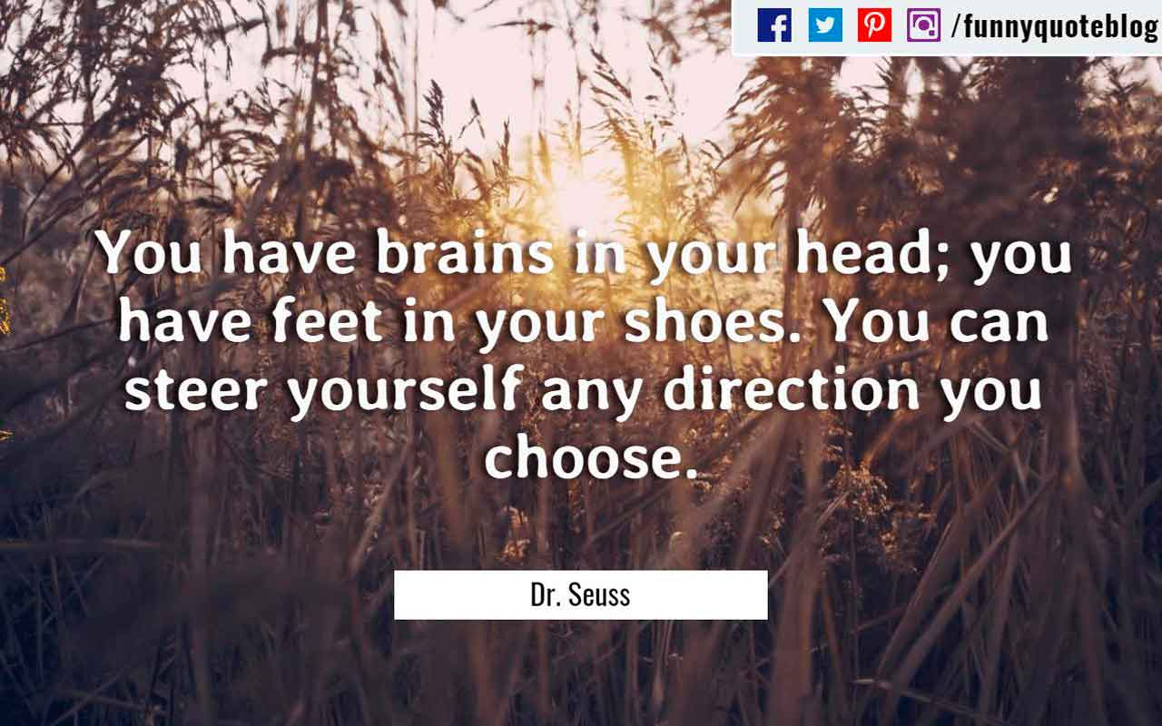 �You have brains in your head; you have feet in your shoes. You can steer yourself any direction you choose.� ? Dr. Seuss Quote