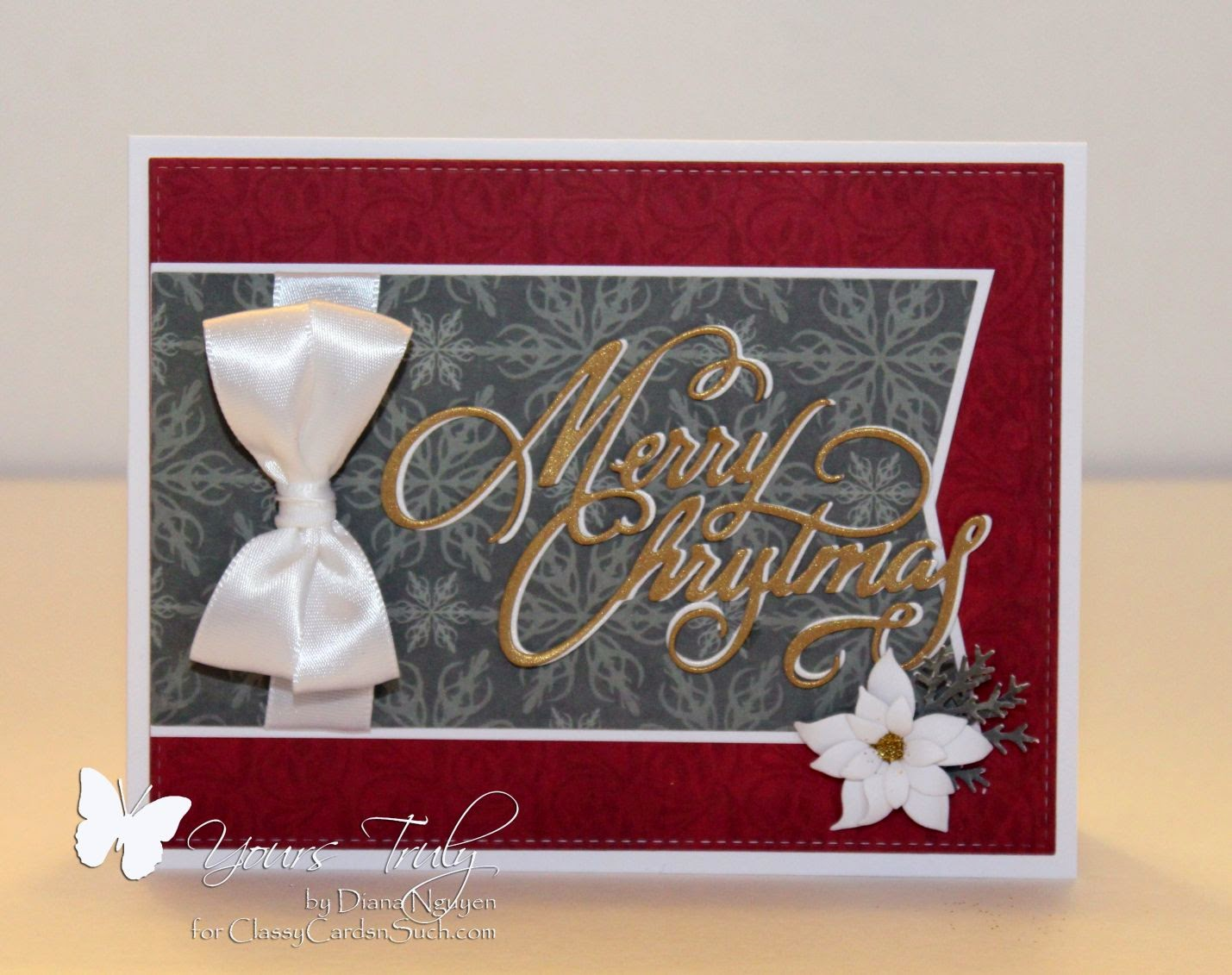 Diana Nguyen, Christmas, card, Impression Obsession, Poppy Stamps, poinsettia