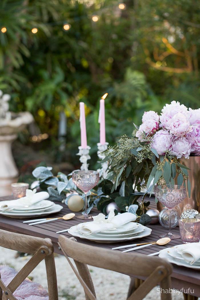 elegant tablescape outdoor entertaining garden peonies
