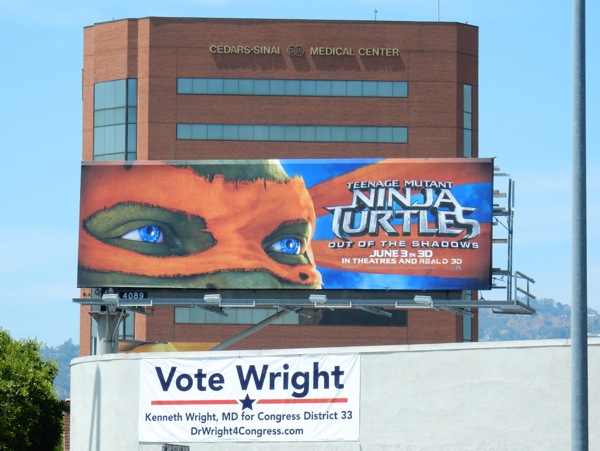 Teenage Mutant Ninja Turtles 2 Michelangelo mask billboard