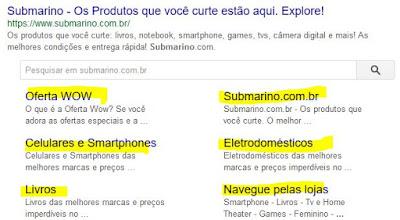 Exemplo site Submarino que aparece como destaque nas buscas Google