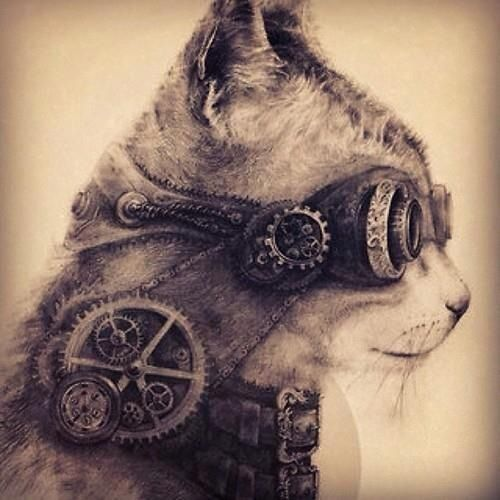 amazing cat steampunk tattoos