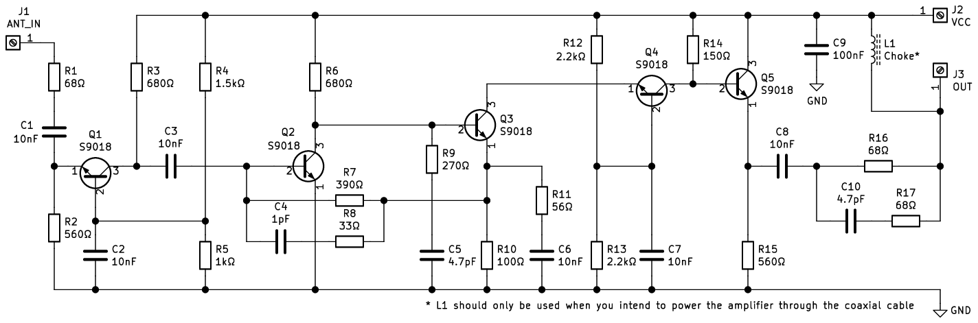 HF & VHF antenna amplifier without coils · One Transistor