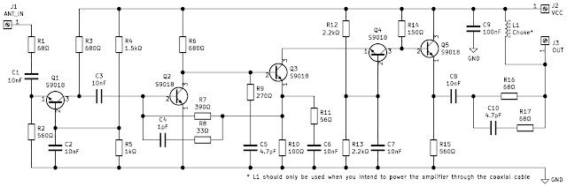 Schematic of antenna amplifier without coils