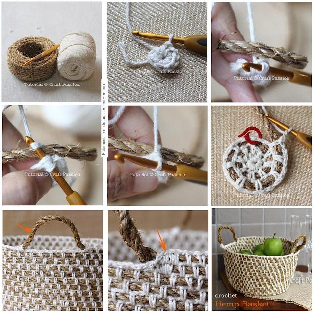 tejer cuerda con croché, tejer cuerda con ganchillo, cesto de cuerda y ganchillo