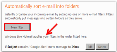 apply filter in hotmail