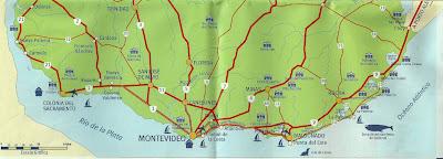 Mapa do litoral do Uruguai