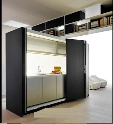 hidden kitchens as freestanding column
