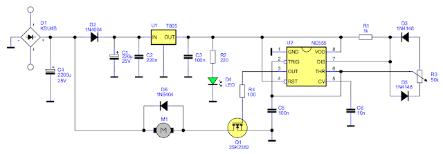 DC Motor Controller for PCB Drill with 555 PWM schematic
