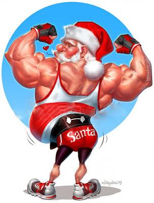 Lustiger Bodybuilding Weihnachtsmann starkter Bizeps dünne Beine - Fit für Weihnachten witzig