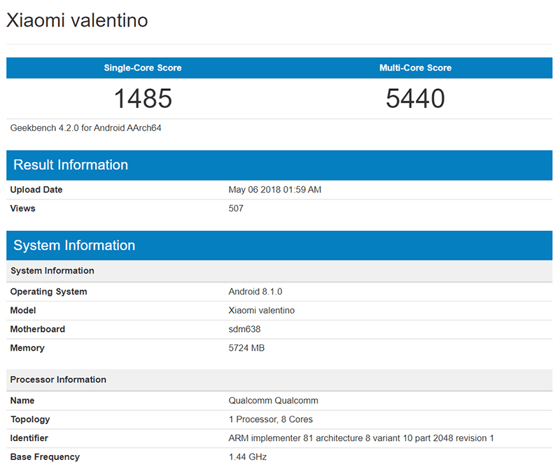 "Xiaomi ""Valentino"" with Snapdragon 638 chip appears on Geekbenchrs on Geekbench"