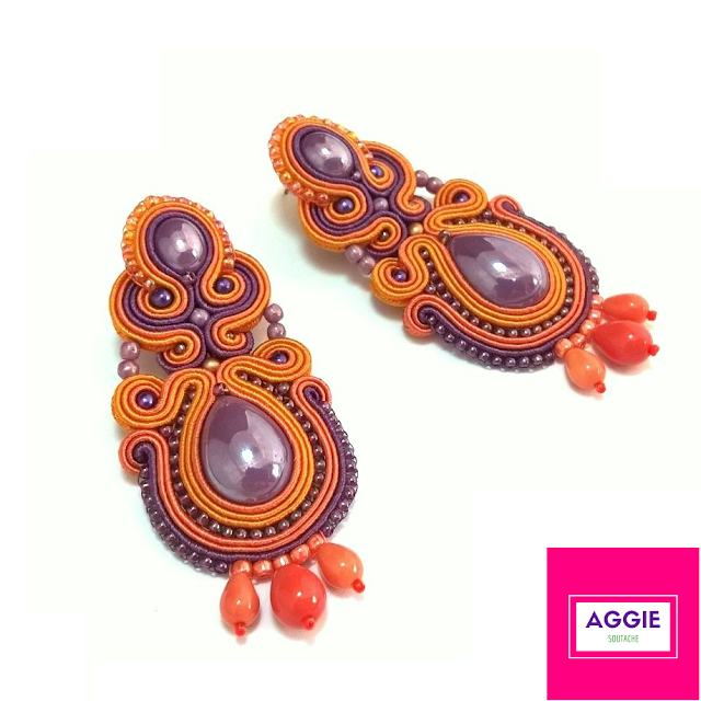 Orange violet purple long soutache earrings autumn