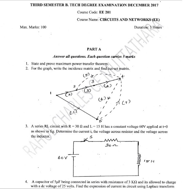 ktu buddy s3 eee circuits and networks sample question paperktu s3 electrical and electronics engineering eee 201 circuits and networks sample question paper