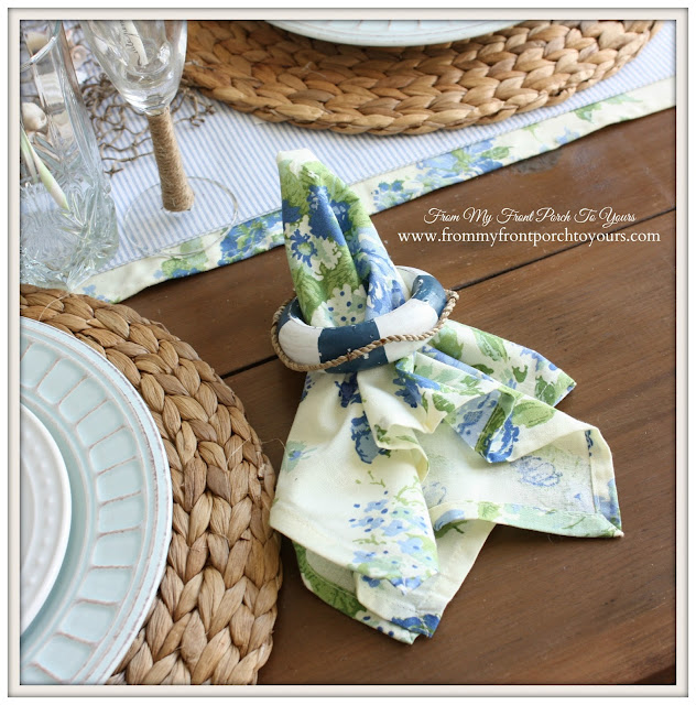 Nautical Dining Room-Tbale Setting- Life Preserver Napkin Rings- From My Front Porch To Yours