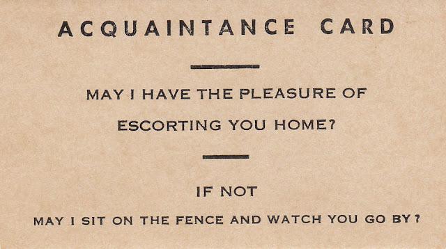 Calling card Victorian Era. Sassy innuendo. Frighten the Horses. marchmatron.com