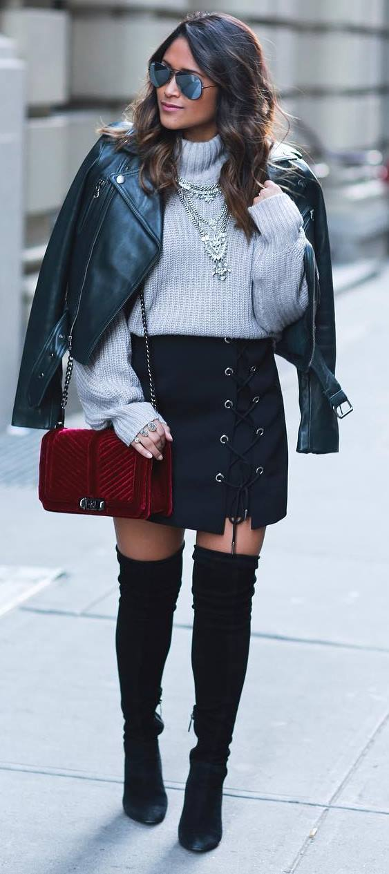 fashionable fall outfit idea: leather jacket + knit + skirt + bag + over the knee boots
