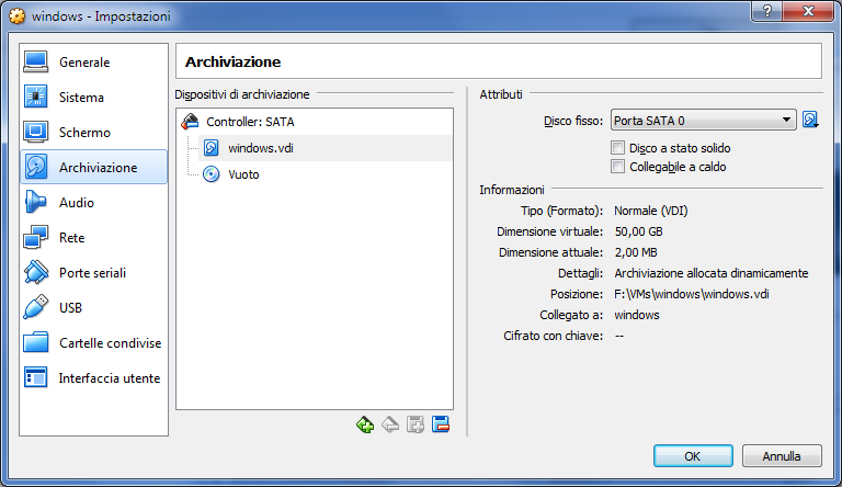 Oracle VM VirtualBox, disco allocato dinamicamente
