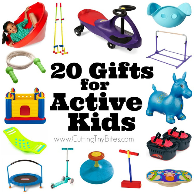 20 Gifts for Active Kids.  Got a preschooler or kindergartner who likes to move?  These toys are lots of fun, and are great for gross motor development as well!