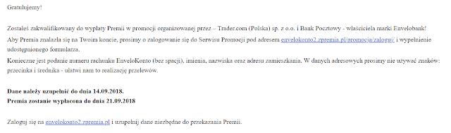 Finalizacja promocji z premią 50 zł za EnveloKonto