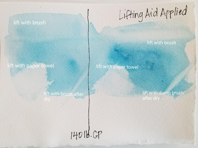 Results of test with QoR lift aid on watercolor paper without sizing issue.